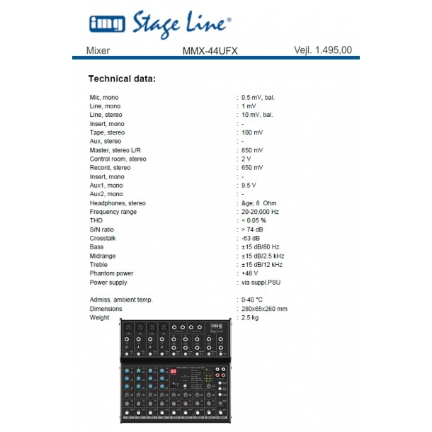 mixer mmx-44ufx - h u00f8jttalere  u0026 pa